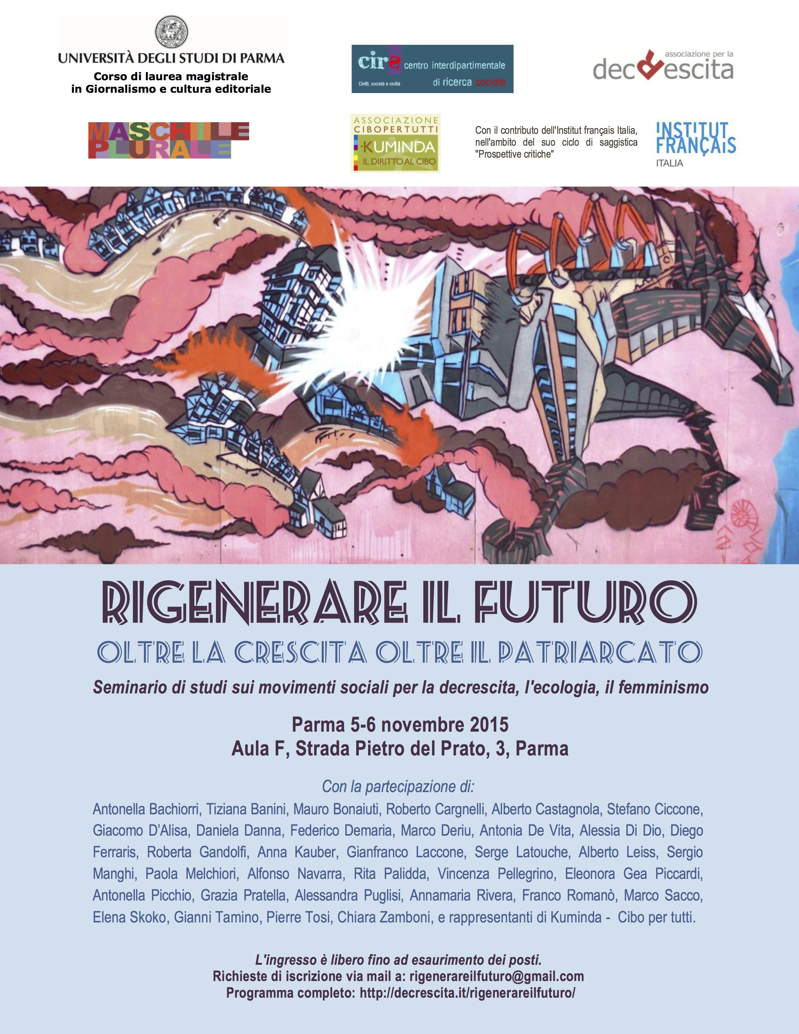 """5-6 novembre 2015: Seminario """"Rigenerare il futuro"""""""