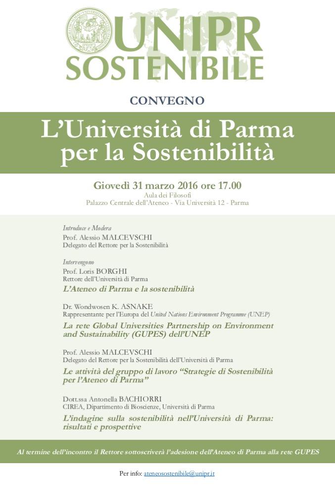 """31 marzo 2016: Incontro """"L'Università di Parma per la Sostenibilità"""""""